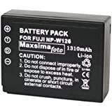 Maxsimafoto - NP-W126, Fully Compatible Battery, 1310mAh, for Fujifilm fits X-Pro1, X-E1, X-E2, X-M1, X-A1, X-T1, FinePix HS50EXR, HS30EXR, HS33EXR, FUJI W126. NPW126.