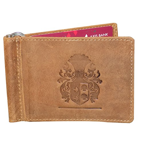 Style98 Tan Genuine Leather Money Clip Wallet Cum Credit Card holder For Men and Boys