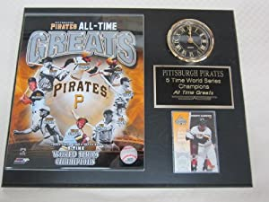 Pittsburgh Pirates All Time Greats Collectors Clock Plaque w 8x10 Photo and Card by J & C Baseball Clubhouse