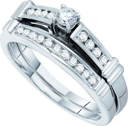 14ct White Gold 0.35 Dwt Diamond Princess-cut-center Bridal Set Wedding Ring