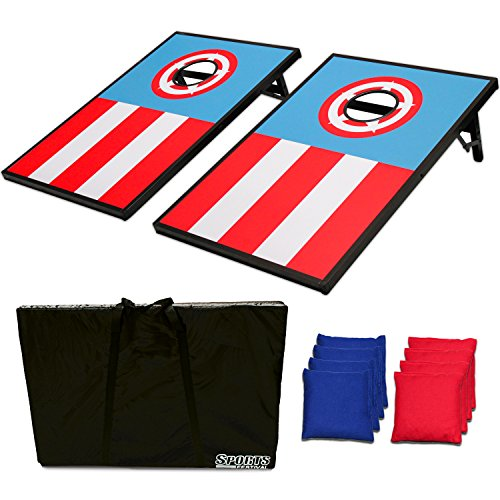 Sports Festival ® CornHole Bean Bag Toss Game Set - Superior Aluminum Frame (Captain America) (Game Wiki compare prices)