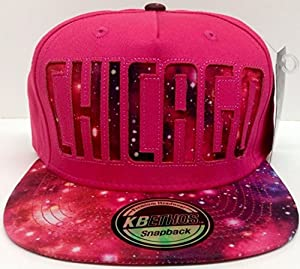 Chicago Pink Galaxy Print Snapback Hat Cap by KB Ethos