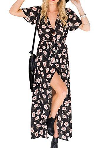 Simplee Apparel Women's Floral Print Maxi Dress Cap Sleeve V Neck Long Summer Dress