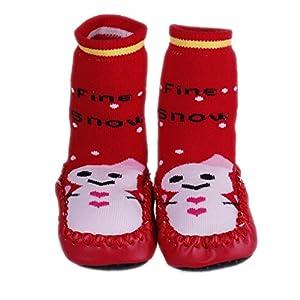 La vogue Zapatillas Calcetines Para Bebé Niños Patrón Muñeco De Nieve Rojo por La vogue en BebeHogar.com