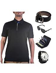 Garushi Black T-Shirt With Watch Belt Sunglasses Cardholder