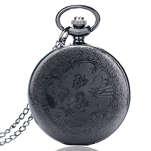 HJIAN Pocket Watch Black Roman Retro Vintage Quartz Pocket Watch Roman Numerals Steampunk Fob Watch 3