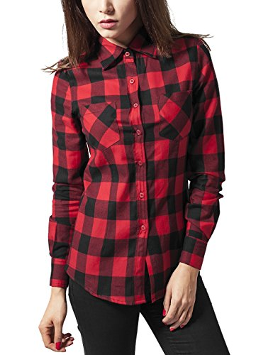 Urban Classics Ladies Checked Flanell Shirt, Camicia Donna, Mehrfarbig (blk/red 44), 36 Inches (taglia Produttore: S)