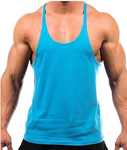 Gilet sportivi, Canottiera, Stringer Canotta, Joe muscolare, culturista, T-shirt, Axel shirt, fitness (M, Azzurro)