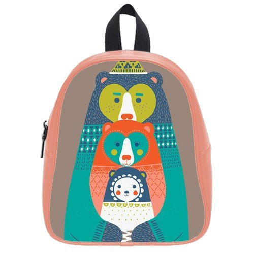 Generic Custom Cartoon Abstract Kangaroo Printed Light Salmon School Bag Backpack Fit Short Trip Pu Leather Small front-236269