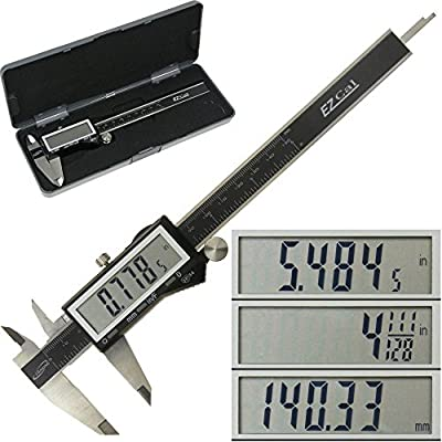 """iGaging IP54 Electronic Digital Caliper 0-6"""" Display Inch/Metric/Fractions Stainless Steel Body by iGaging"""
