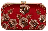 #10: Tooba Handicraft Party Wear Hand Embroidered Box Clutch Bag Purse For Bridal, Casual, Party , Wedding (Red, red antique sequins flower 6x4)
