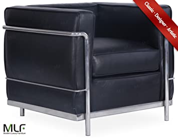 MLF® Le Corbusier Style LC2 Sofa Armchair(Multi Colors&Size Available) 1 Seater, Black Anilian Leather