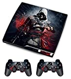Designer Skin for Sony PS3 Slim Console System Plus Two(2) Decals For: Playstation 3 Dualshock Controller - Assassin Creed Flag