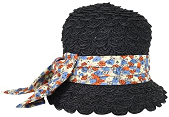 San Diego Hat Women's Toyo Floral Cloche Hat, Black, One Size