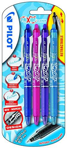 Pilot FriXion ball - Juego de bolígrafos de tinta de gel (no retráctiles, 4 unidades), color azul/rosa/violeta/turquesa (bleu/rose/violet/turquoise)