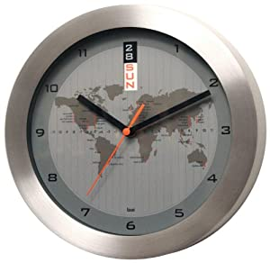 aluminum greenwich mean time wall clock with automatic day date