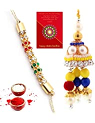 Ethnic Rakhi Designer Colorful Floral Pattern Fashionable And Stylish Bhaiya Bhabhi Mauli Thread And Beads Rakhi... - B01IIMFWJA