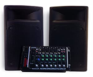 Nady ACCESS PSS-300 Portable PA System with 8-Channel Mixer, Dual 150-Watt RMS Class D Amplifiers and Full Range Speakers