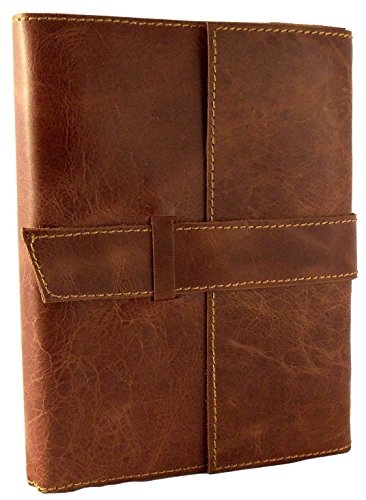 """Rustic Ridge Refillable Distressed Leather Travel Journal with Handmade Paper - 6"""" x 8"""" - Saddle Brown (Moderately Distressed)"""