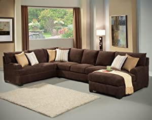 Furniture of America Navelis 3-Piece Micro-Denier Sectional Sofa Set, Java Finish