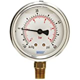 WIKA 9691974 Industrial Pressure Gauge, Liquid/Refillable, Copper Alloy Wetted Parts, 2-1/2
