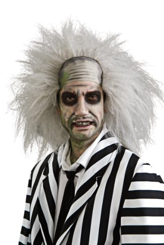Officially Licensed Low Cost Beetlejuice White Wig, White, One Size