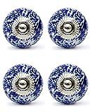 Knobs & Hooks Ceramic Cabinet Knob; White+Blue; Set of four pieces