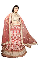 Jiya Presents Embroidered Net Lehenga Choli(Pink,Beige)