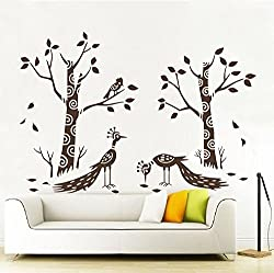 UberLyfe Pigmented Polyvinyl Decal of Artistic Nature with Brown Trees and Peacocks Wall Sticker (Wall Covering Area- 120cm x 150cm) - WS-000793-PV