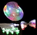 パーティーグッズLEDで光るハット手袋蝶ネクタイセットマジシャンコスプレハロウィン仮装変装帽子コンサートイベントにも最適<パーティー3点セット>
