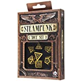 Q-Workshop Polyhedral 7-Die Set: Carved Steampunk Dice Set (Yellow and Black) (Color: Yellow & Black)