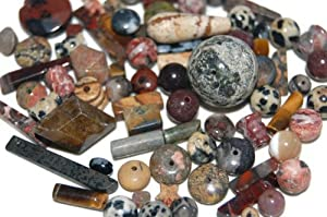 1 Pound Mixed Gemstone Beads Sizes Vary From 3mm- 50mm mix/At Least 2 Focal Stones Per Box