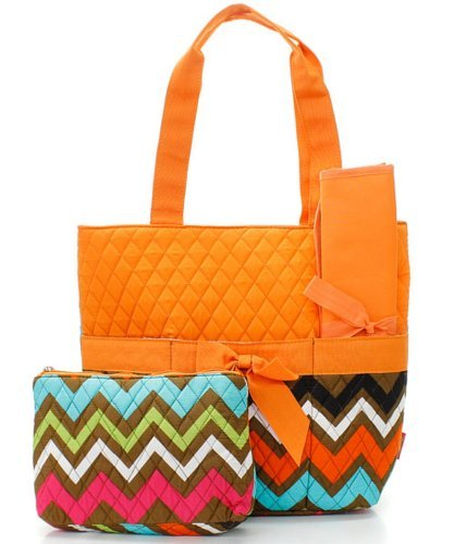 Quilted Orange Multicolor Chevron Print Monogrammable 3 Piece Diaper Bag With Changing Pad Tote Bag