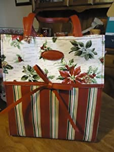 Longaberger Christmas Holiday Stripe Lunch Gift Tote Bag 2007