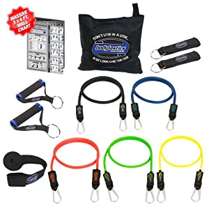 "Bodylastics 12 pcs Max Tension Resistance Exercise Bands Set. This super tough system features Professional quality components at a non-professional price. You get 5 Stackable and Patented Malaysian Latex ""Snap Guard"" exercise tubes, Ultra Heavy Duty components, carrying case, and printed instructions for the top muscle building exercises. Get the same system that's trusted by Law Enforcement, The Military and professional sports."