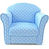 Kids Childrens Blue with White Spots Fabric Tub Chair Armchair Sofa Seat Stool