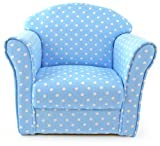 Kids Childrens Blue with White Spots Fabric Tub Chair Armchair Sofa Seat Stool, width 50cm