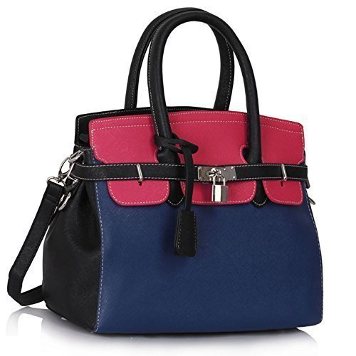 Womens Designer Faux Leather Plain and Ostrich PadLock Tote Shoulder Bags Handbags Sale