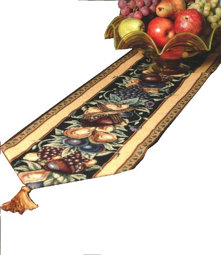 Manual Woodworkers & Weavers Table Runner, Old World Italy w/Tassels