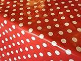 Red Polka Dot Oilcloth PVC Tablecloth Fabric (Per Metre)