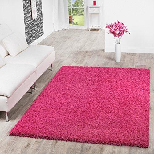 T & T Design-Tappeto da salone a peli lunghi, diversi colori, Rosa bonbon, 160 x 220 cm