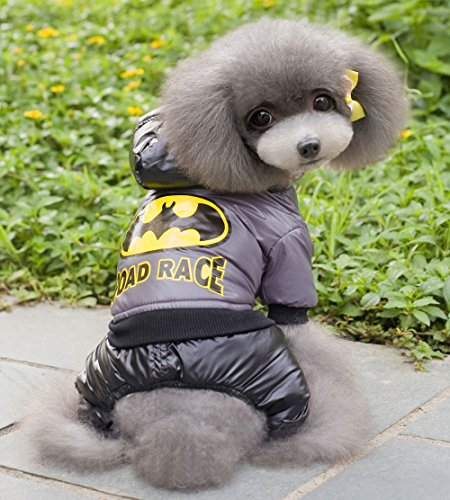 [Smalllee_Lucky_Store Batman Superman Costume Jumpsuit, Grey, X-Large] (Business Suit Dog Costume)
