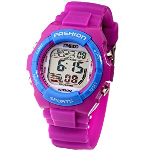 Time100 Kids' Digital Timing Multifunctional Purple Strap Sport Electronic Watch#W40011L.06A
