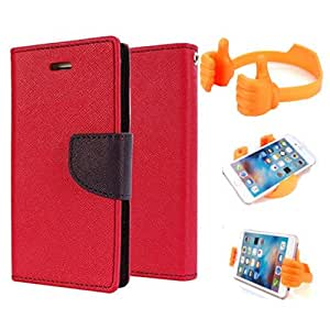 Aart Fancy Diary Card Wallet Flip Case Back Cover For Nokia 640 - (Red) + Flexible Portable Mount Cradle Thumb Ok Stand Holder By Aart store