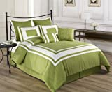 Cozy Beddings Lux Decor Collection 8-Piece Comforter Set with White Stripes, King, Pistachio Green