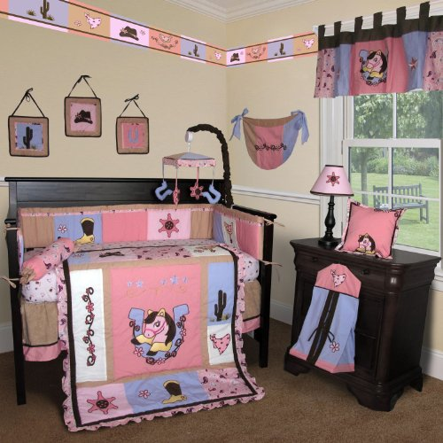 Custom Baby Bedding -Western Cow Girl 15 PCS Crib Bedding