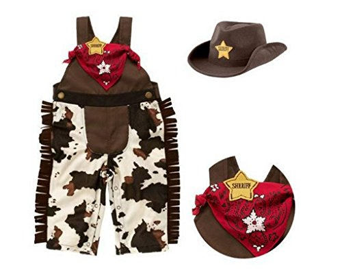 Rush Dance Baby Sheriff Cowboy Overalls, Hat & Handkerchief Romper Suit 3 pc Set (80 (6-12M), Cowboys (Baby Cowboy Costume)