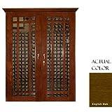Vinotemp Vino-700grid-engoak 440 Bottle Grid Style Wine Cellar With Cornice – Glass Doors / English Oak Cabinet