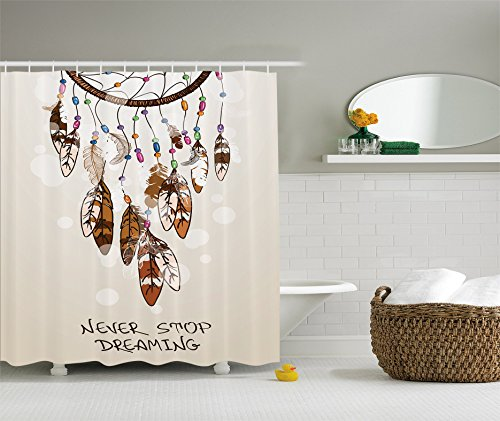 Ambesonne Native American Southwest Decorations Collection, Never Stop Dreaming Feathers and Colorful Beads for Good luck, Polyester Fabric Bathroom Shower Curtain Set with Hooks, Beige Brown (Southwestern Shower Curtain compare prices)