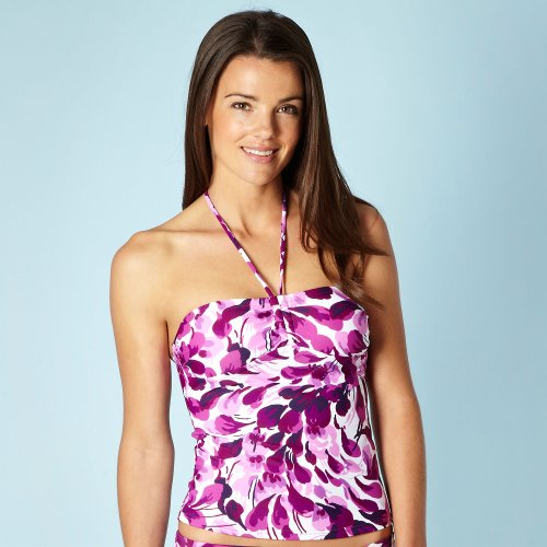 Beach Collection Pink Petal Printed Bust Boosting Tankini Top